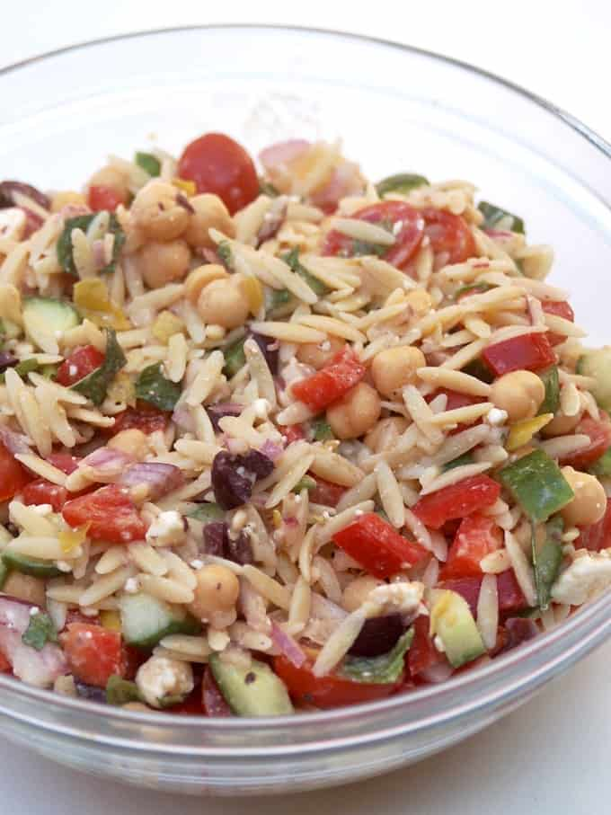Orzo Salad from Trisha Yearwood in a glass bowl.