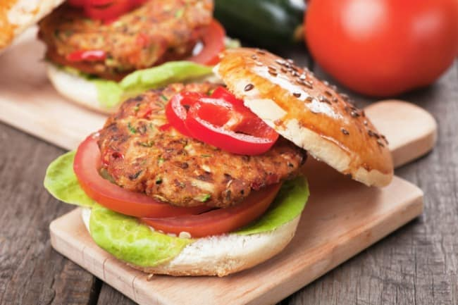 weight watchers veggie burger on board with top askew