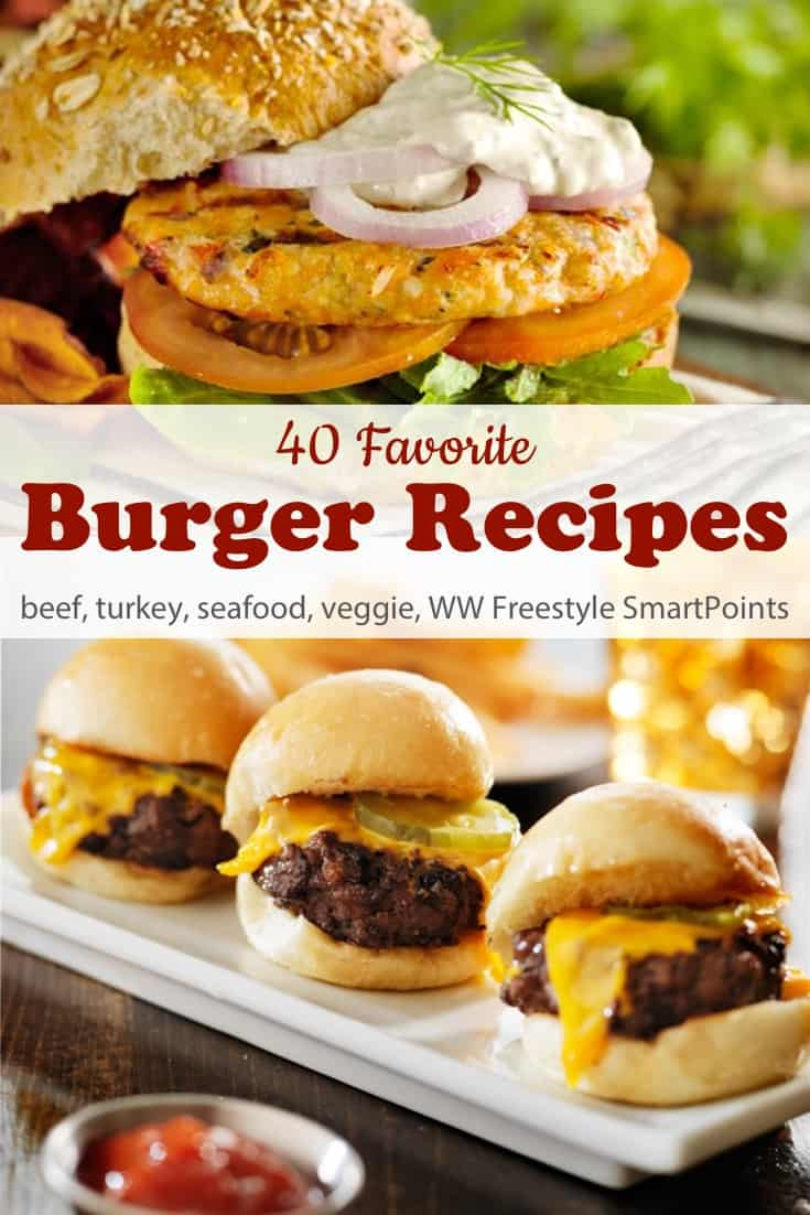 A favorite collection of 40 healthy, flavorful Weight Watchers Burger Recipes - beef, pork, turkey, chicken, seafood and vegetarian - with PointsPlus and WW Freestyle SmartPoints! #simplenourishedliving #weightwatchers #wwfamily #wwsisterhood #ww #smartpoints #wwfreestyle #wwsmartpoints #burgers #becauseitworks