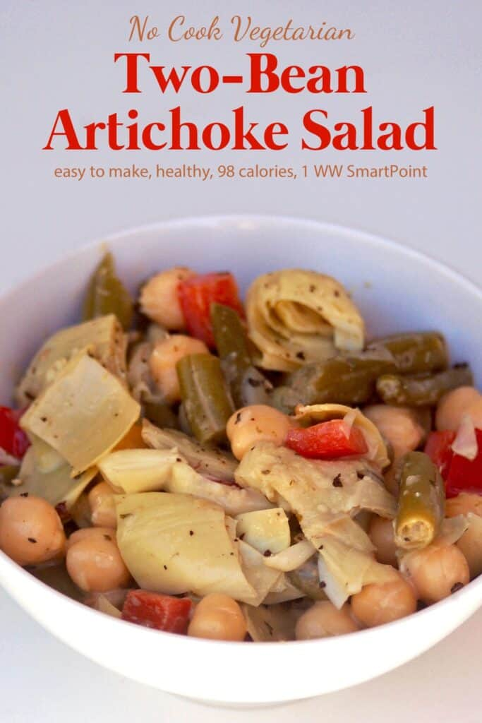 Two Bean Artichoke Salad in white bowl.