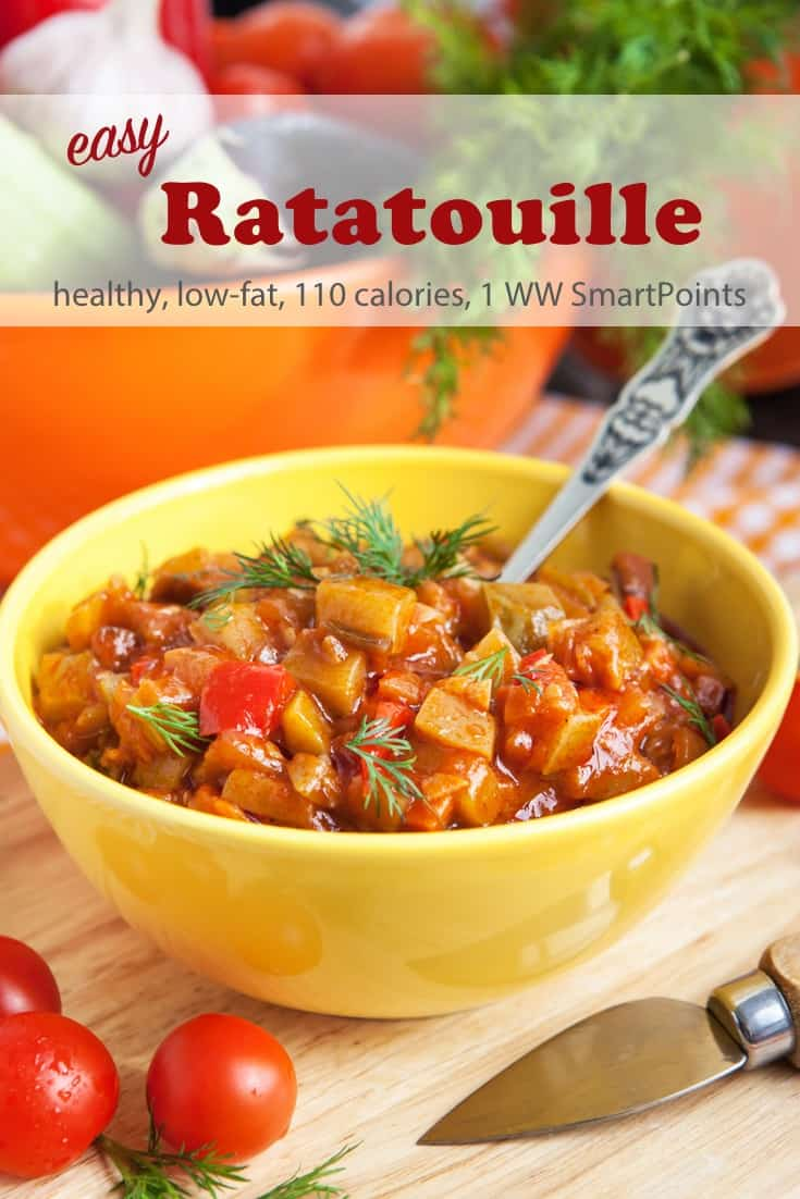 Easy summer ratatouille recipe you can use in so many ways, as a side dish for chicken or fish, as an appetizer on toasted bread, filling for an omelette or crepe or topping for pasta - only 110 calories and 1 Weight Watchers Freestyle SmartPoint! #simplenourishedliving #weightwatchers #wwfamily #wwsisterhood #ww #smartpoints #wwfreestyle #wwsmartpoints #easyhealthyrecipes #ratatouille