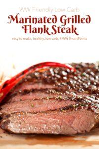 Marinated grilled sliced flank steak up close.