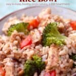 Chicken brown rice bowl with broccoli and red bell pepper up close.