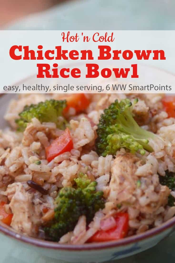 Easy, healthy and delicious, this hot + cold chicken brown rice bowl is a winner for lunch or dinner with just 6 Weight Watchers Freestyle SmartPoints! Each recipe serves one, but it can easily be doubled, tripled or even quadrupled. #simplenourishedliving #weightwatchers #wwfamily #ww #smartpoints #wwfreestyle #wwsmartpoints #wwsisterhood #easyhealthyrecipes