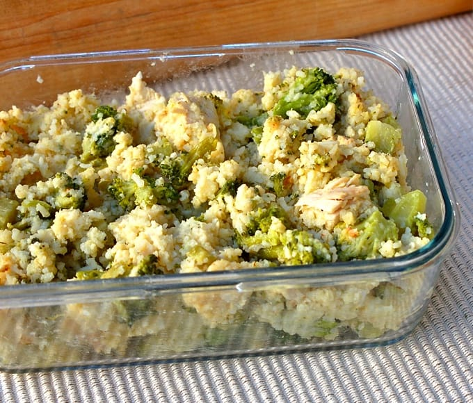 Chicken, rice and broccoli casserole in glass serving dish.