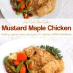 Mustard maple chicken with fresh rosemary and vegetables on white dinner plate.
