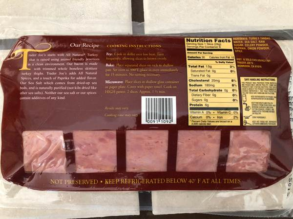 Uncured Turkey Bacon Package