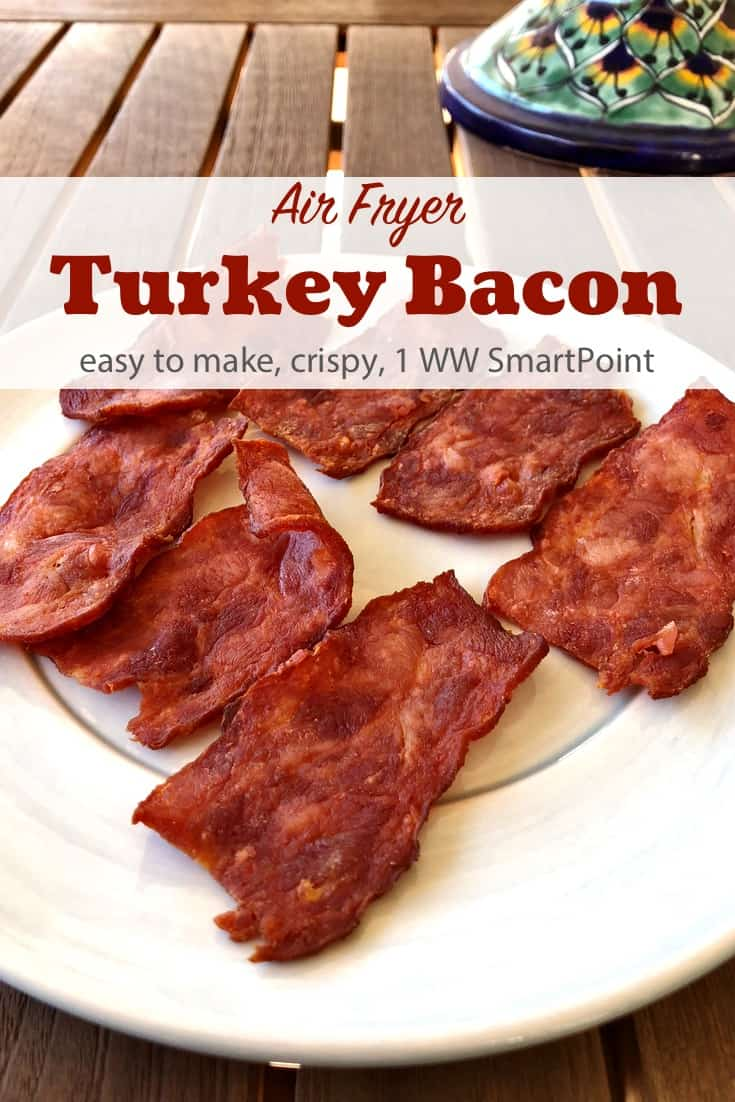 Easy, healthy, Weight Watchers friendly air fryer recipe for turkey bacon that turns out crispy and crunchy with no added oil - just 1 WW Freestyle SmartPoints per slice! #simplenourishedliving #weightwatchers #wwfamily #ww #smartpoints #wwfreestyle #wwsmartpoints #wwsisterhood #easyhealthyrecipes #airfryer #bacon