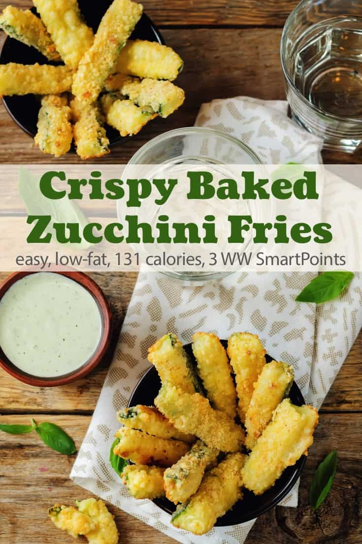 A Weight Watchers favorite recipe, with lots of reviews and 4+ star rating, these crispy oven-baked zucchini fries are an all-around winner with just 131 calories and 3 WW Freestyle SmartPoints! #simplenourishedliving #weightwatchers #ww #wwfamily #smartpoints #wwfreestyle #wwsmartpoints #easyhealthyrecipes #zucchini