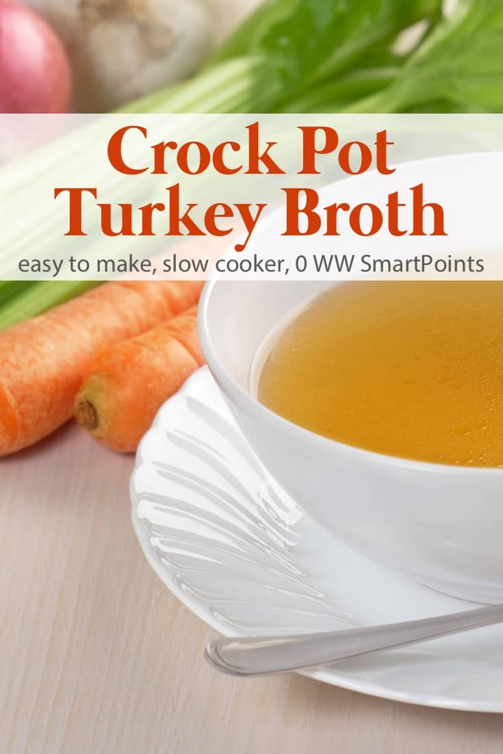 Crock pot turkey broth is an easy, healthy and delicious way to make homemade stock from leftover turkey bones. #crockpotturkeybonebroth #bonebroth