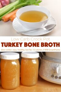 Crock pot turkey bone broth in white bowl with celery, carrots and onion near mason jars filled with extra broth.