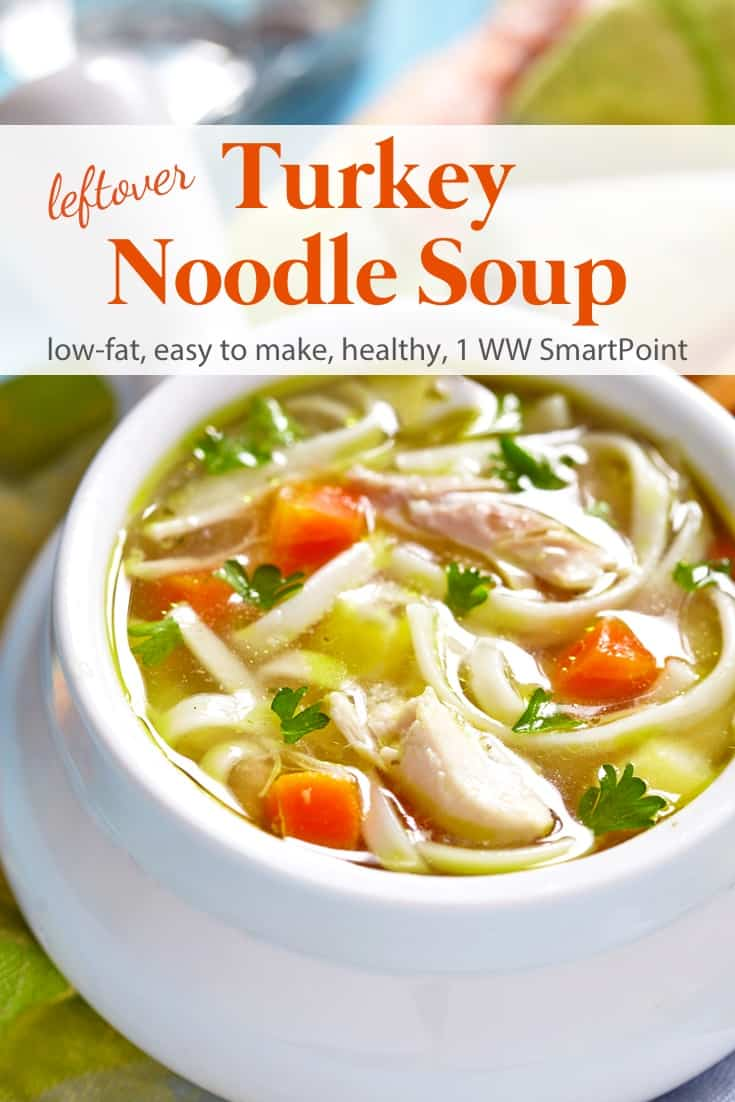 A simple low calorie recipe for leftover turkey noodle soup with several delicious variations. Of course, you can always use chicken instead. #leftoverturkeynoodlesoup #soup