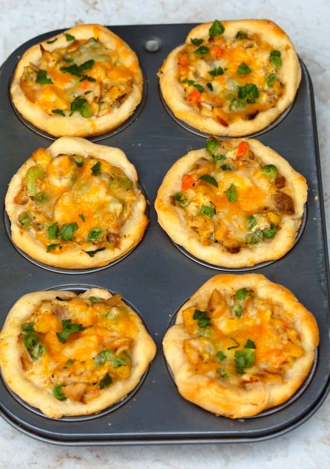 Muffin Tin with Six Mini Chicken Pot Pies