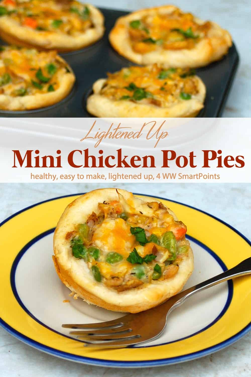 Simple, delicious and portion-controlled, these muffin pan Mini Chicken Pot Pies are a family-favorite quick + easy supper, or snack! #minichickenpotpies #muffintinchickenpotpie #chickenpotpie #potpie #chicken #easyhealthyrecipes