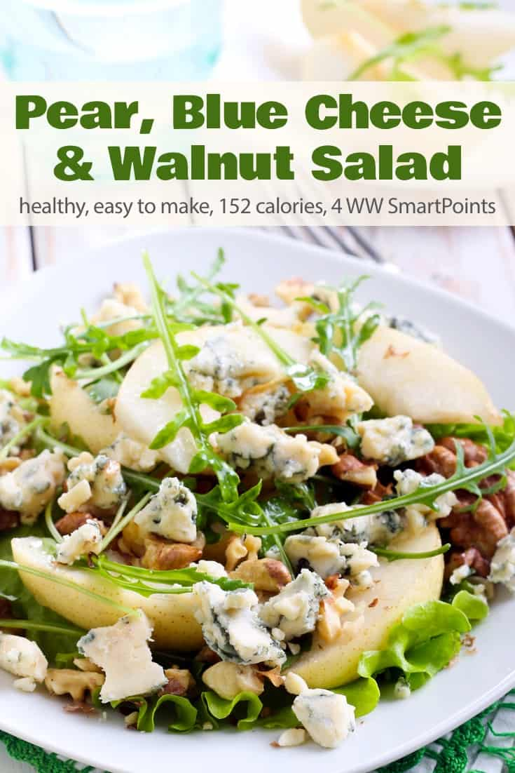This simple salad of mixed greens, sliced pears, crumbled blue cheese and toasted walnuts is an all-time favorite! #pearbluecheesewalnutsalad #salad