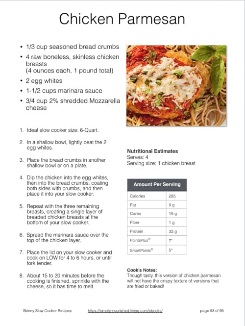 Chicken Parmesan Slow Cooker Recipe eBook Sample Page