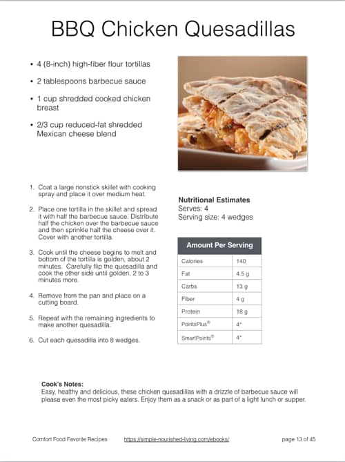 Comfort Food Favorites BBQ Chicken Quesadilla - Sample Recipe Page