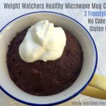 WW Chocolate Mug Cake with whipped topping from above