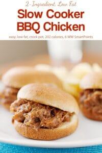 Three mini bbq chicken slider sandwiches on white plate.