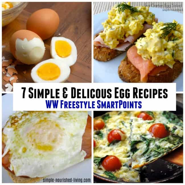 Photo collage of four different images showing hard-boiled eggs, open-faced egg salad sandwiches with smoked salmon, a fried egg sandwich and a frittata