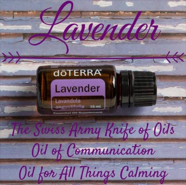 Graphic with bottle of lavender essential oil and text explaining how lavender is the Swiss army knife of oils