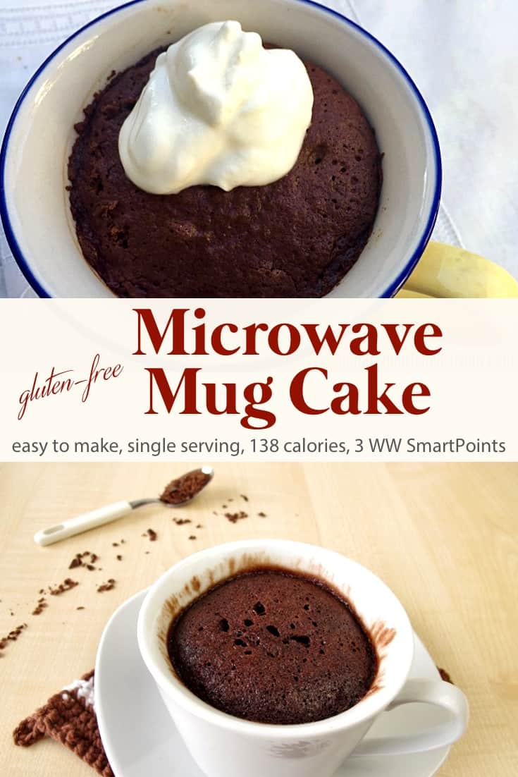 Perfectly portion-controlled, easy, healthy, gluten-free chocolate microwave mug cake - only 138 calories, 3 Weight Watchers Freestyle SmartPoints! #simplenourishedliving #weightwatchers #ww #wwfamily #wwsisterhood #smartpointsfam #smartpoints #wwfreestyle #wwsmartpoints #easyhealthyrecipes #becauseitworks #beyondthescale #mugcake #glutenfree