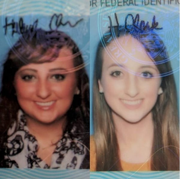 Hayleigh's Drivers License Photo Before and After Weight Loss