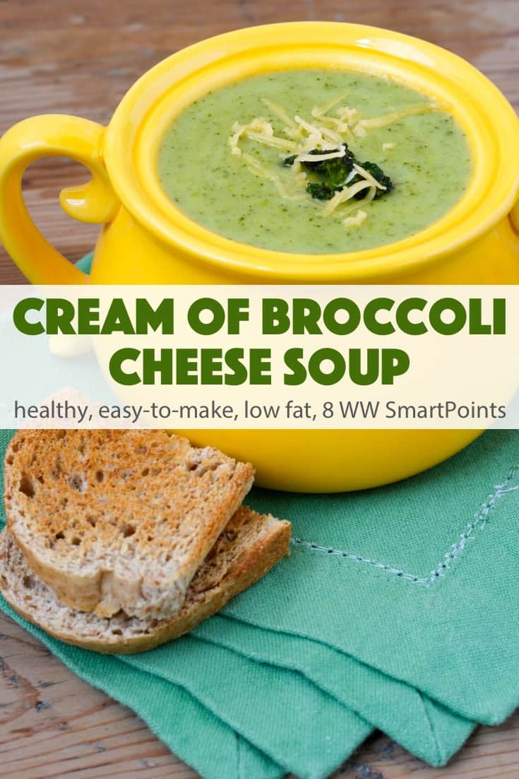 You can serve this savory cream go broccoli cheese soup with a sprinkling of shredded reduced-fat cheddar cheese, a dollop of yogurt and/or a sprinkling of sliced scallions or chopped basil! #creamofbroccolicheesesoup #broccoli #soup