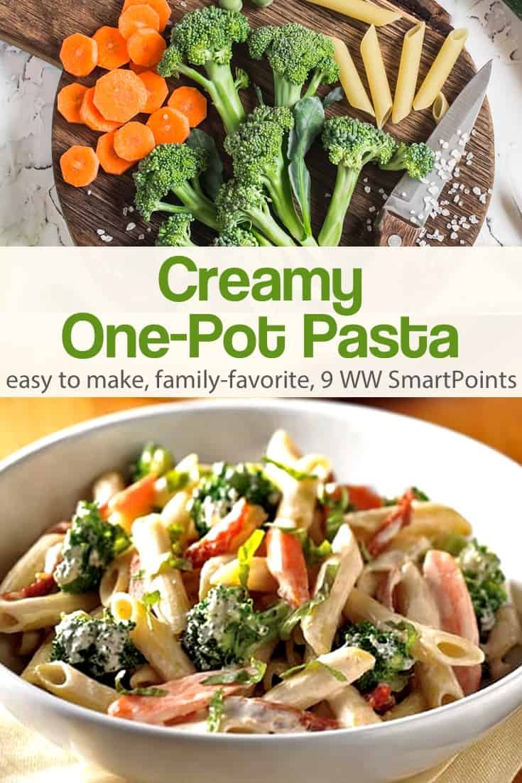 Quick and easy one-pot creamy pasta with broccoli and carrots in a light cream sauce - about 290 calories and 9 Weight Watchers Freestyle SmartPoints! #simplenourishedliving #weightwatchers #ww #wwfamily #wwsisterhood #smartpoints #smartpointsfam #wwfreestyle #wwsmartpoints #easyhealthyrecipes #becauseitworks #beyondthescale