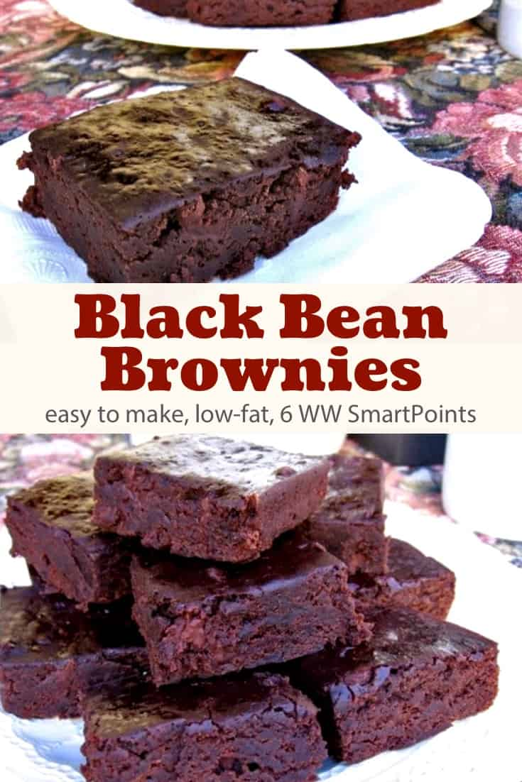 Low-fat, rich and fudgy black bean chocolate brownies that are as quick and easy as they are delicious with only 139 calories and 6 Weight Watchers Freestyle SmartPoints! #simplenourishedliving #weightwatchers #wwfamily #ww #wwsisterhood #smartpoints #wwfreestyle #wwsmartpoints #dessert #wwdessert #brownies