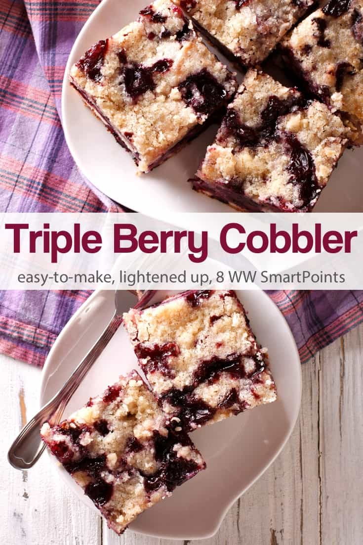 A simple triple berry cobbler that's also light and healthy. I used a combination of raspberries, blueberries and marionberries but feel free to use whatever kind of berries you like best. #tripleberrycobbler #berrycobbler