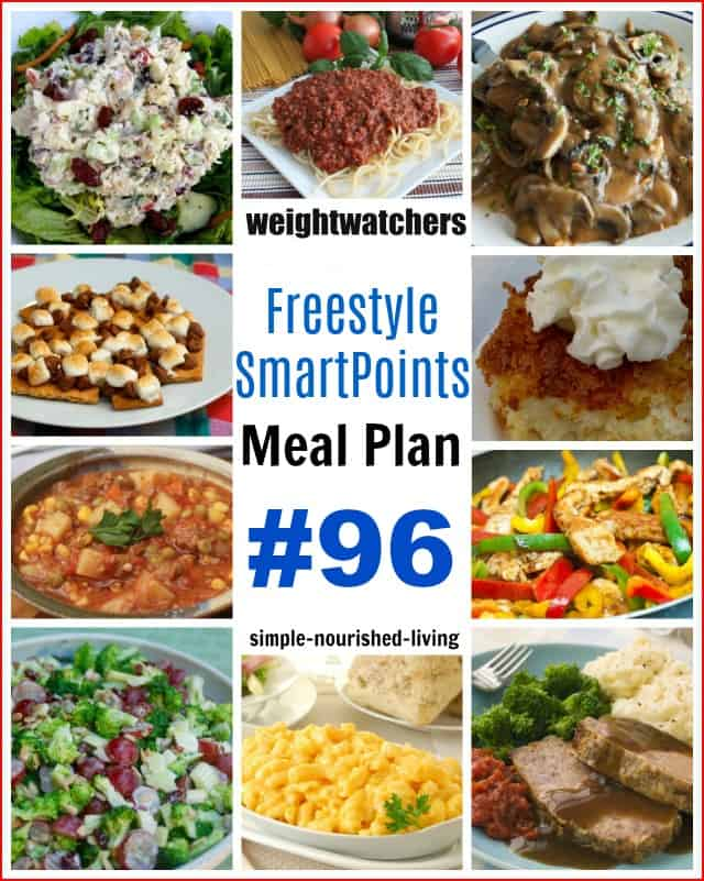WW Freestyle SmartPoints Dinner Meal Plan Collage of WW Friendly Foods