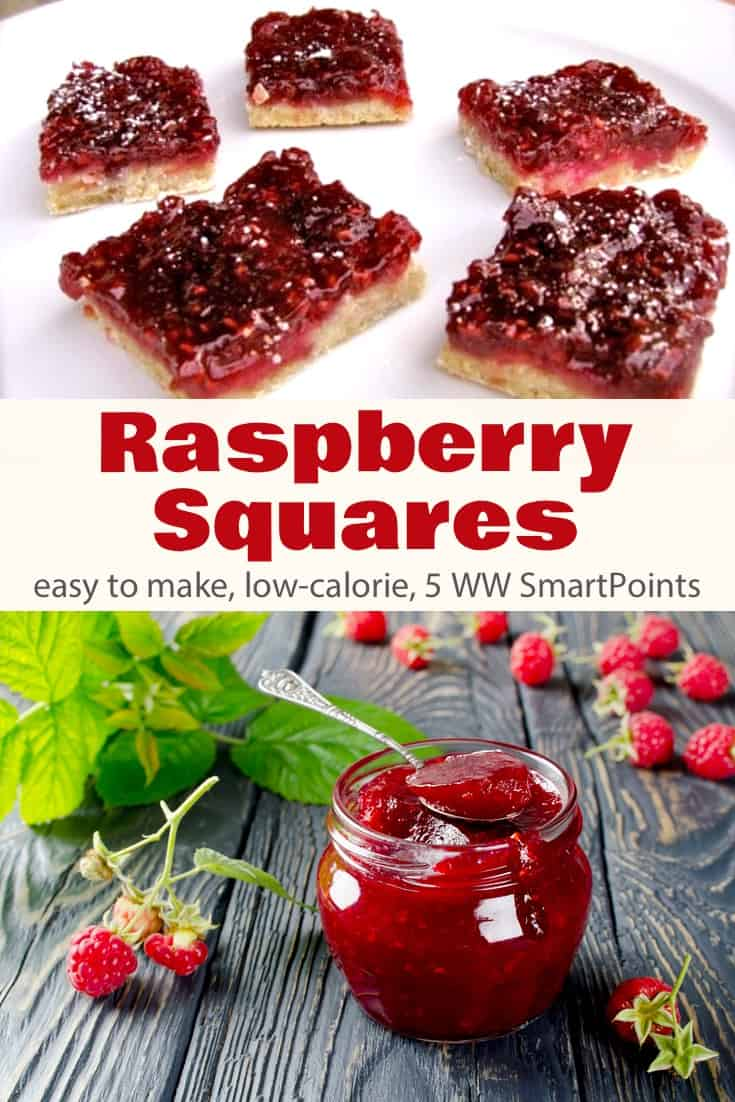 Simple but festive dessert squares with simple shortbread crust and sweet-tart raspberry topping, these Weight Watchers Raspberry Bars are a winner with only 5 WW Freestyle SmartPoints! #simplenourishedliving #weightwatchers #ww #wwfamily #smartpoints #wwfreestyle #wwsmartpoints #wwsisterhood #easyhealthyrecipes #dessert #wwdessert