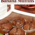 4 chocolate banana muffins on green ceramic plate.