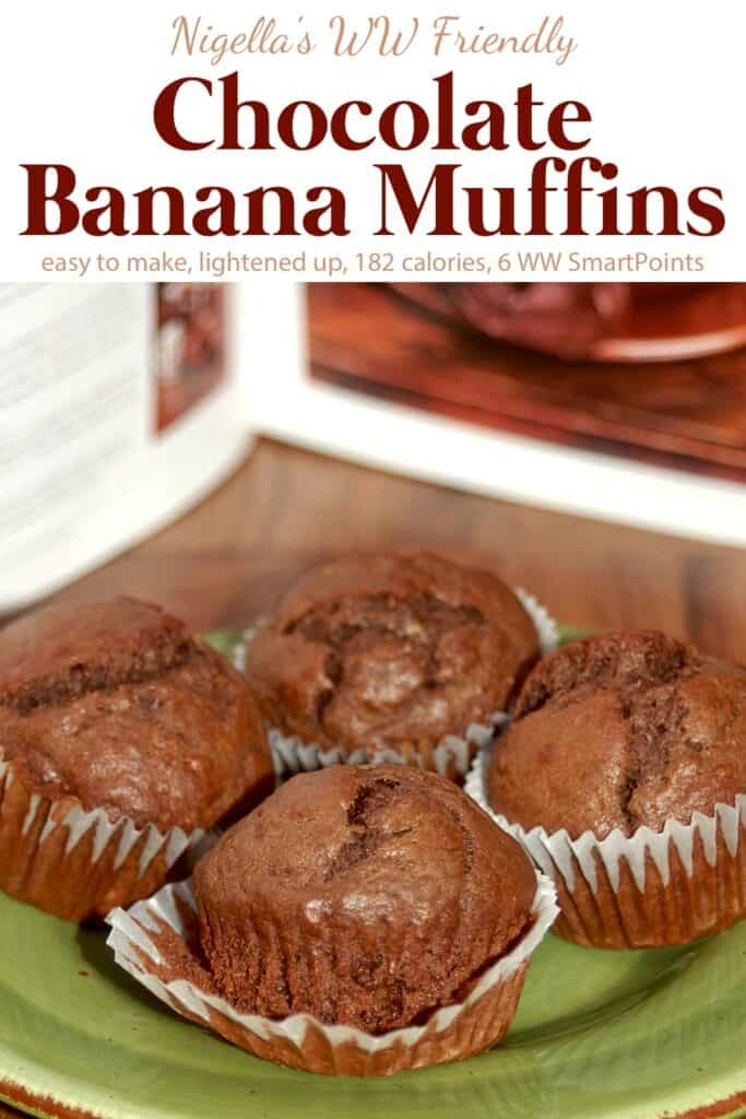 4 chocolate banana muffins on green ceramic plate.