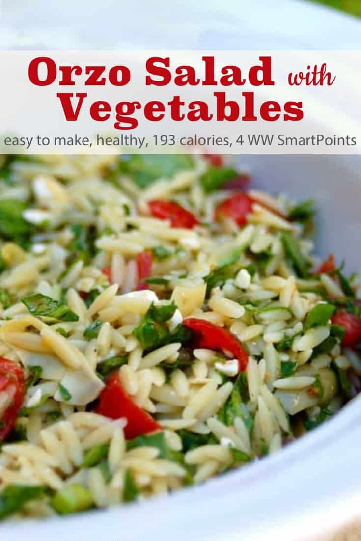 Easy-to-make, Weight Watchers friendly Orzo Salad with Vegetables is a favorite dish at all our family gatherings and potlucks. Each serving has just 193 calories and 4 WW Freestyle SmartPoints! #simplenourishedliving #weightwatchers #wwfamily #ww #wwfreestyle #smartpoints #wwsmartpoints #beyondthescale #becauseitworks #easyhealthyrecipes