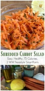 shredded carrot salad pin bowl of salad, ingredients and text