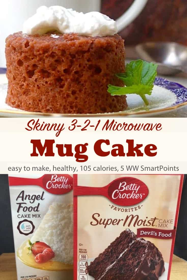 3-2-1 Weight Watchers Microwave Mug Cake made with your favorite cake mix - just 105 calories and 5 WW Freestyle SmartPoints! #simplenourishedliving #weightwatchers #wwfamily #ww #wwsisterhood #smartpoints #wwfreestyle #wwsmartpoints #easyhealthyrecipes #weightwatchersrecipes #freestylerecipes #mugcake #wwdessert #dessert