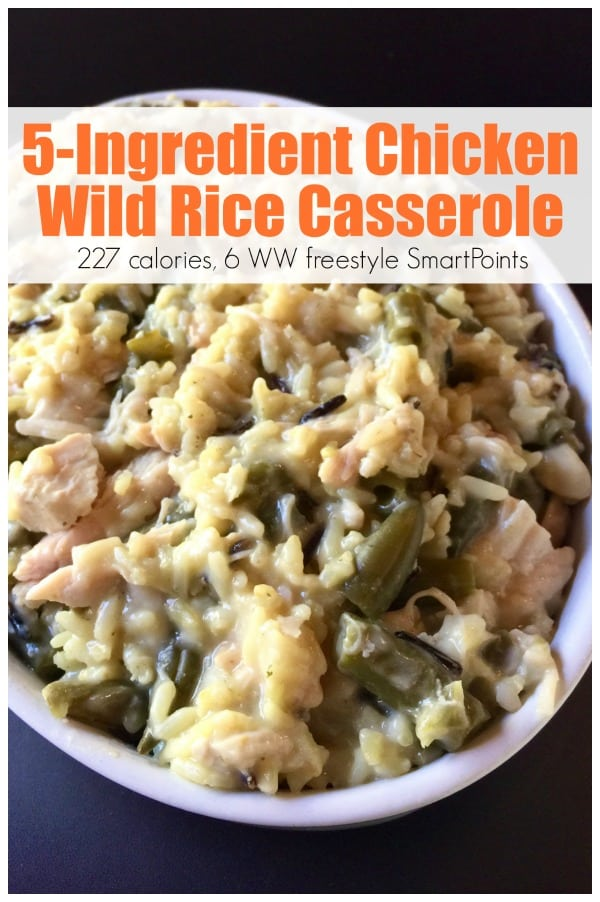 Easy healthy 5-ingredient chicken wild rice casserole is creamy comfort food at its best with just 227 calories, 6 Weight Watchers Freestyle SmartPoints! #weightwatchersrecipes #5ingredients #freestylerecipes #lowcalorierecipes #simplenourishedliving #easyhealthyrecipes #smartpoints #wwsmartpoints #wwfreestyle