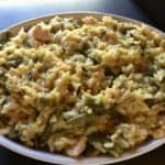 Easy Chicken Wild Rice Casserole in White Ceramic Dish Close UP