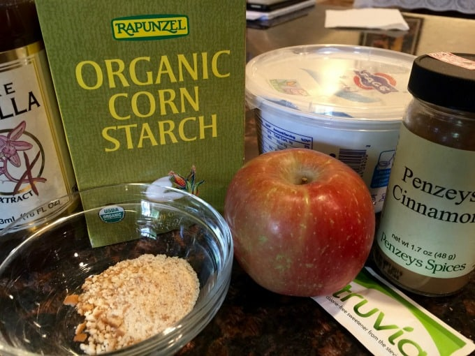 Apple Pie Yogurt Parfait Ingredients apple yogurt cornstarch water, sweetener, vanilla, cinnamon