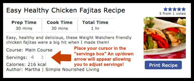 Screen Shot of Recipe Card Servings Adjustment