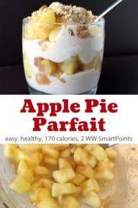 Apple Pie Yogurt Parfait in glass with spoon next to chopped apples