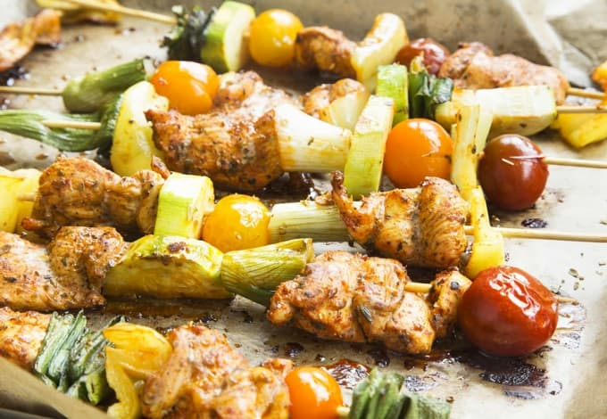 Spicy Chicken and Vegetables Skewers Freshly Grilled