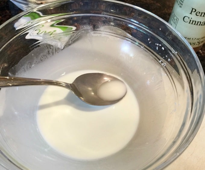 Cornstarch and Water in a Bowl with a Spoon