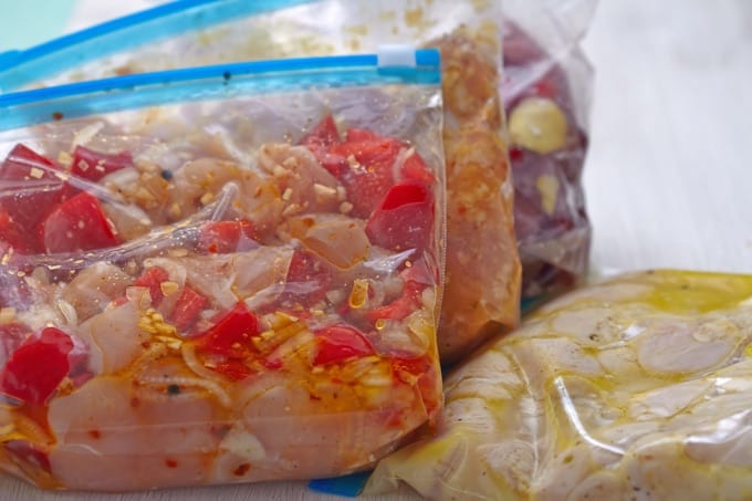 Freezer bags of slow cooker meals