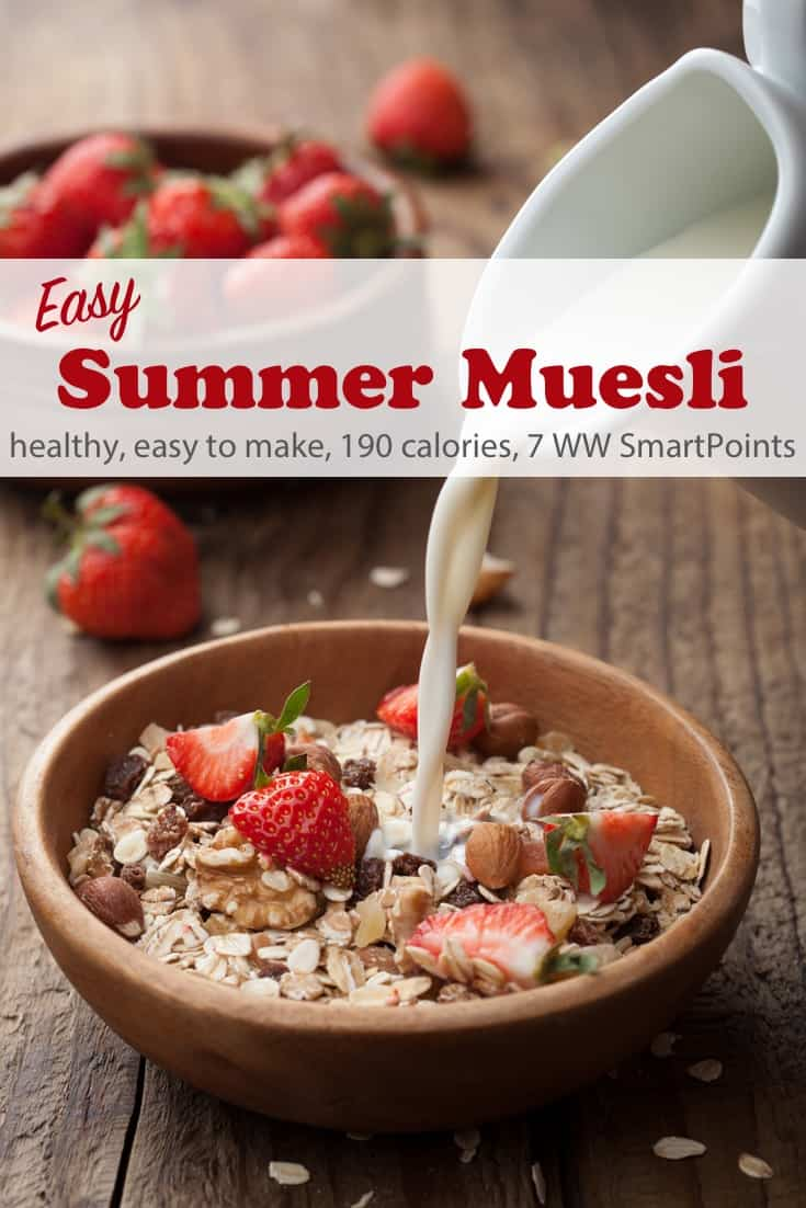 Enjoy this easy, healthy Summer Overnight Muesli Recipe, the swiss version of overnight oats, soaked with yogurt and cranberry juice and topped with fruit, perfect for warmer weather since no cooking is required, Each serving has 190 calories and 7 Weight Watchers Freestyle SmartPoints. #simplenourishedliving #weightwatchers #wwfamily #ww #wwfreestyle #wwsmartpoints #smartpoints #wwrecipe #easyhealthyrecipes #breakfast