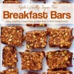 Healthy sugar-free breakfast bars with dates, oats and pumpkin seeds on white tray.