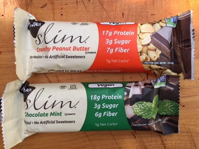 Nugo Slim Vegan Protein Bars on Wooden Board