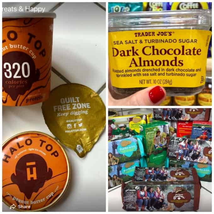 dessert collage halo top, chocolate almonds girl scout cookies